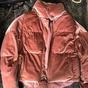 K.zell cropped pink velvet puffer jacket